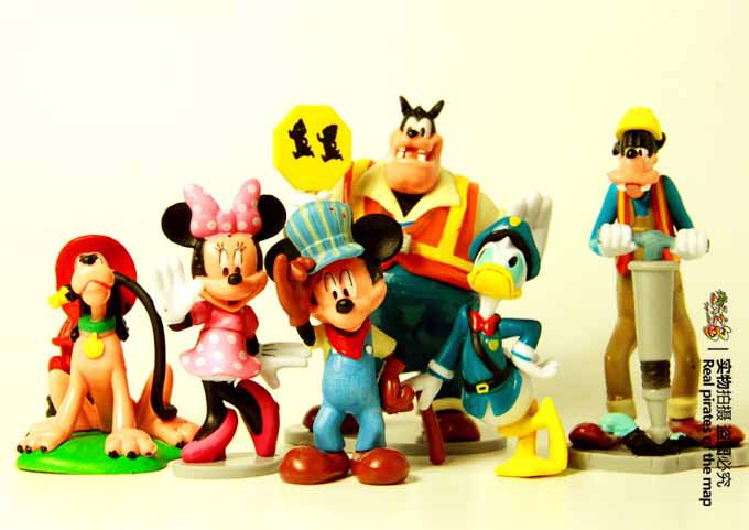 6 Pieces 6~11CM High Mickey Mouse Minnie Mouse Action Toys Figures Donald Duck Pluto Goofy Working Anime Figures WA0012(China (Mainland))