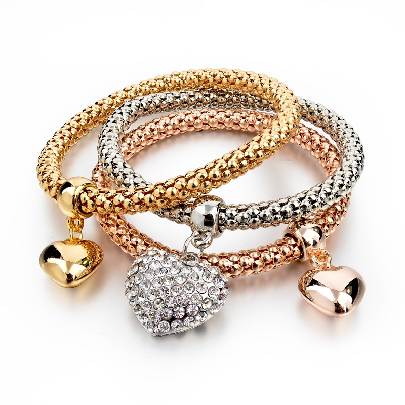 Gold-Silver Plated Bracelets with Heart Charmes