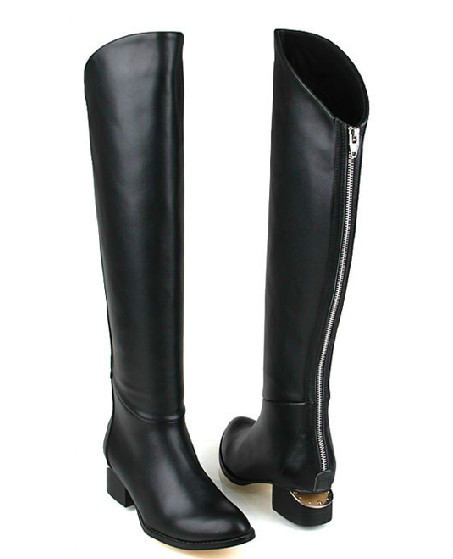 back zip genuine leather flat black boots for knee