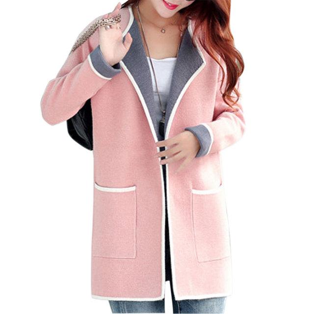 2016 тонкий средней длины женские кардиганы пальто с длинными рукавами лоскутное большие карманы мода вязать свитер Большой размер пальто