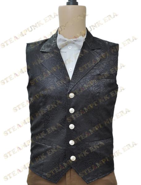 Halloween Costume Black Jacquard Cloth Single Breasted Victorian Steampunk Waistcoat