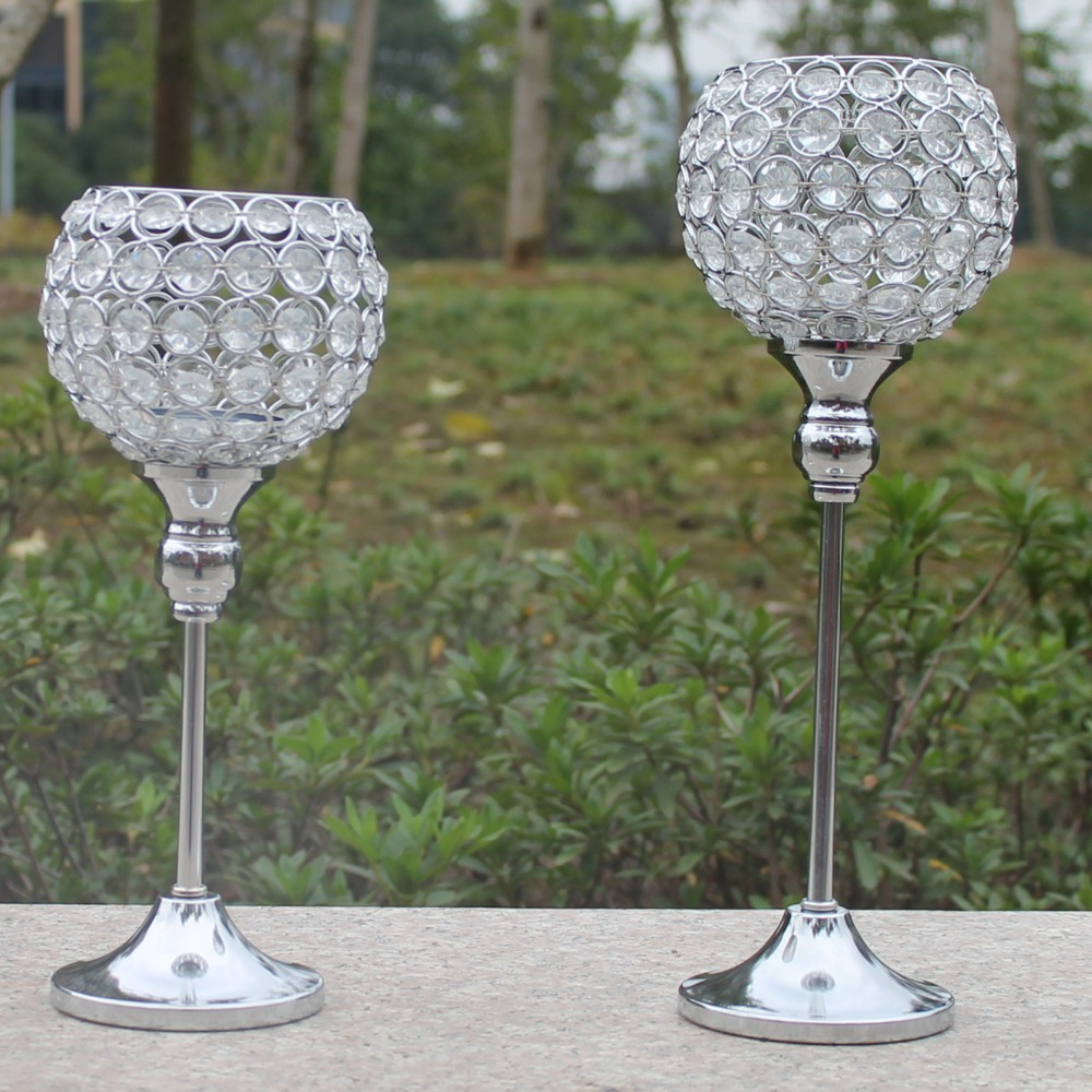 2pcs Metal Silver Plated Candle Holder With Crystals