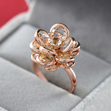 Buy MOONROCY Free Fashion Jewelry Cubic Zirconia Rose gold Color Austrian Crystal Rings flower rings women Gift for $5.09 in AliExpress store