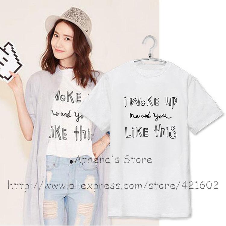 少女時代k,ポップyoonaファッションtシャツ韓国アイドル手紙夏tシャツk