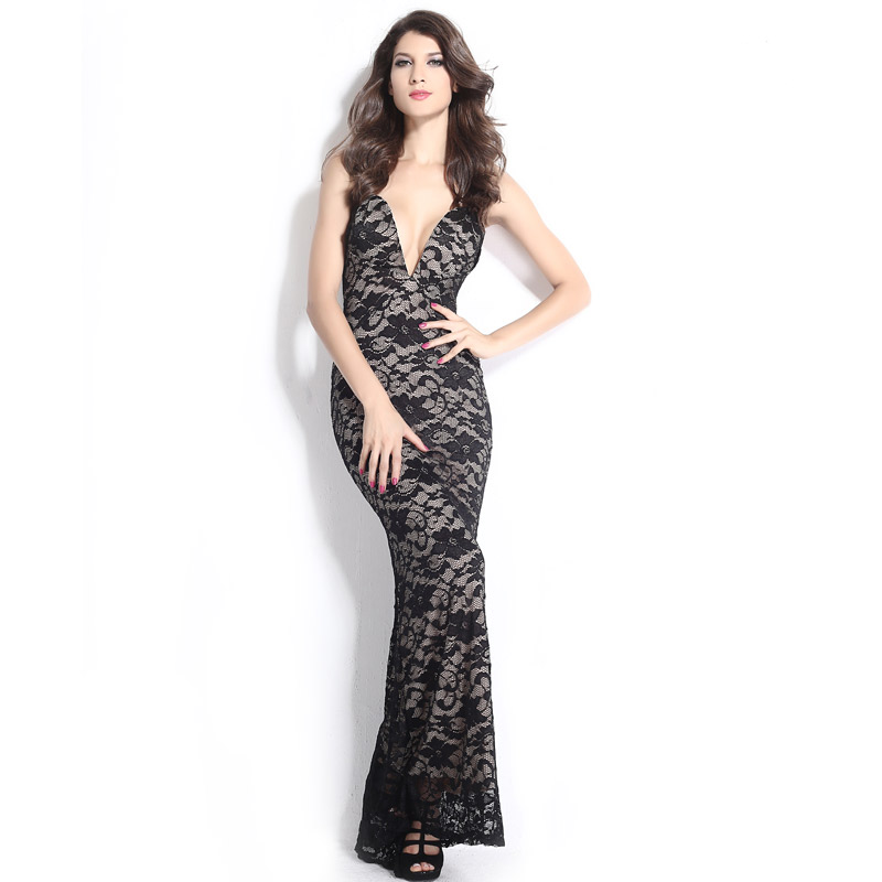 Black Lace Nude Illusion Plunging V Neck Strapless Gown