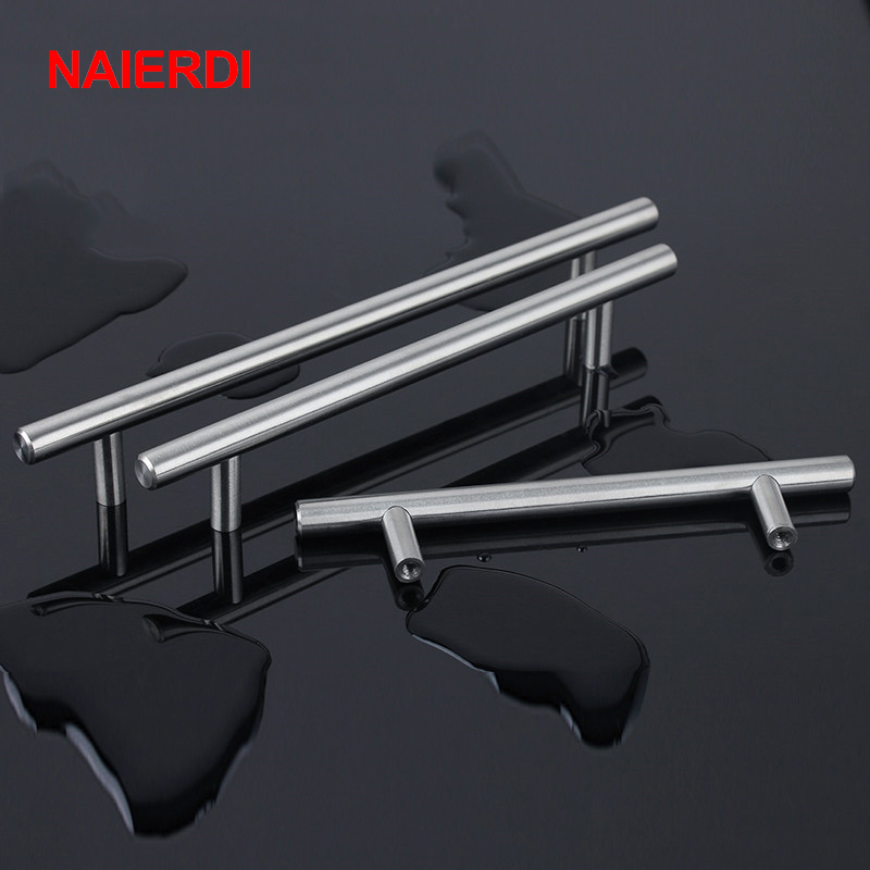 "NAIERDI 4"" ~ 24'' Stainless Steel Handles Diameter 10mm Kitchen Door Cabinet T Bar Straight Handle Pull Knobs Furniture Hardware(China (Mainland))"