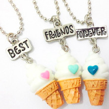 Free shipping Best Friends BFF resin ice-cream pendant bead chain necklace,3 colors lead nickel cadmium free kids jewelry()