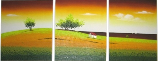 3244 handpainted 3 piece modern landscape decorative oil painting on canvas wall art village scenery picture for home decoration(China (Mainland))