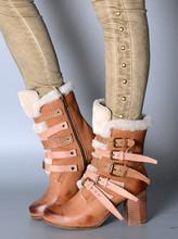 Winter Warm Mujeres Botines Buckles Diseño Chunky de Tacón Alto de La Señora Martin Botas de Piel de Nieve Patea Los Zapatos de Estilo Europeo(China (Mainland))