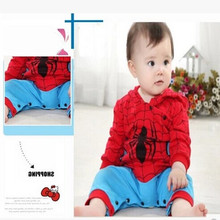 Newborn Toddler Baby boy bodysuits clothes Romper Spiderman Long Sleeve with Smock Infant Cartoon Christmas Costume