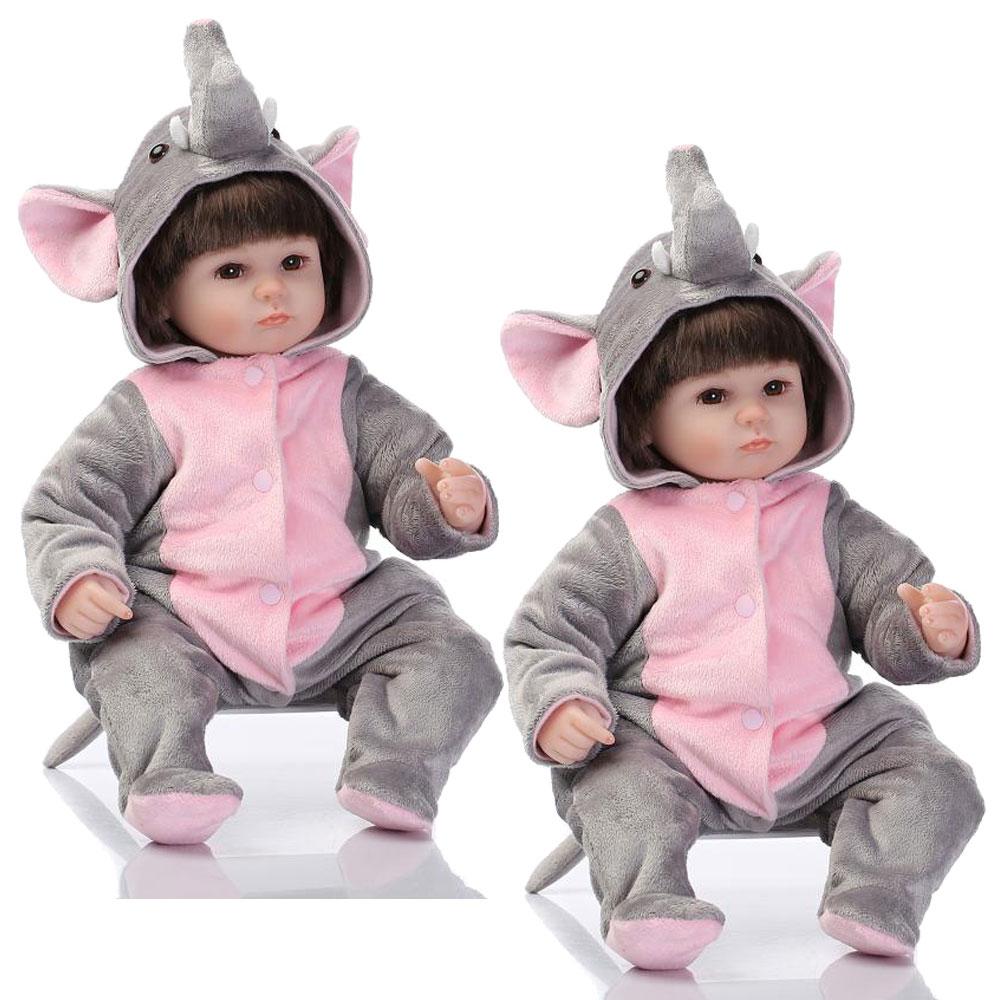 Фотография NEW 2PCS 17inch 42cm  Soft Silicone Reborn Dolls Lifelike Newborn Baby Brinquedos Gift Kid