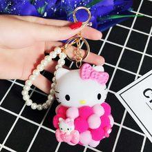 KT Gato dos desenhos animados Bola de Pelúcia Bonito Olá Kitty Chaveiros Chave Anéis Saco Carro Bolsa Encantos Pingente Chaveiro Presente Bugigangas porte Clef(China)