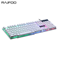 RAJFOO Colorful Rainbow Backlight Gaming Keyboard Gamer Teclado Wired USB with Similar Mechanical Feel Floating LED