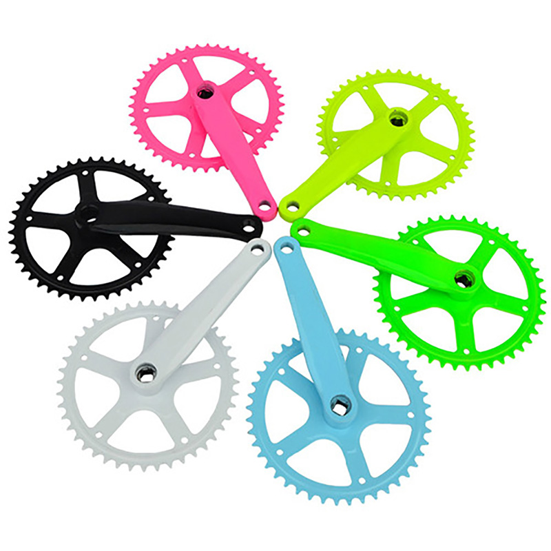 New Single Speed 44T Bicycle Fixed Gear Bike Crankset Cranks Colors Optional Mountain MTB Road Bike Cranks Bike Parts(China (Mainland))
