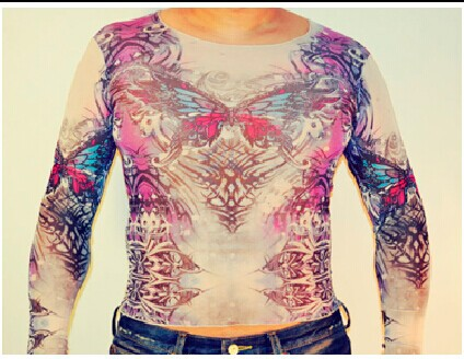 Free Shipping 2016 New Fashion Women/Mens Punk Mesh Fake Long Sleeves Tattoo Shirts .33 Different design Can c hoose In Stock(China (Mainland))