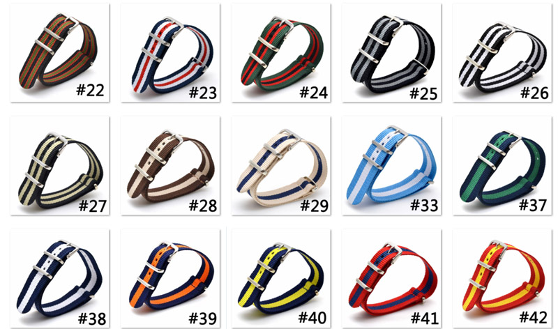 1PCS Nato Strap Watchband 18mm Nylon Watch Strap Men Sport Divers Waterproof Strap