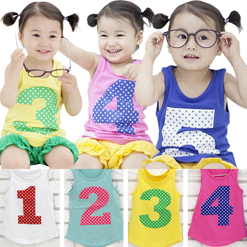 new summer leisure fashion vest digital printing children sports vest girls boy's clothes(China (Mainland))