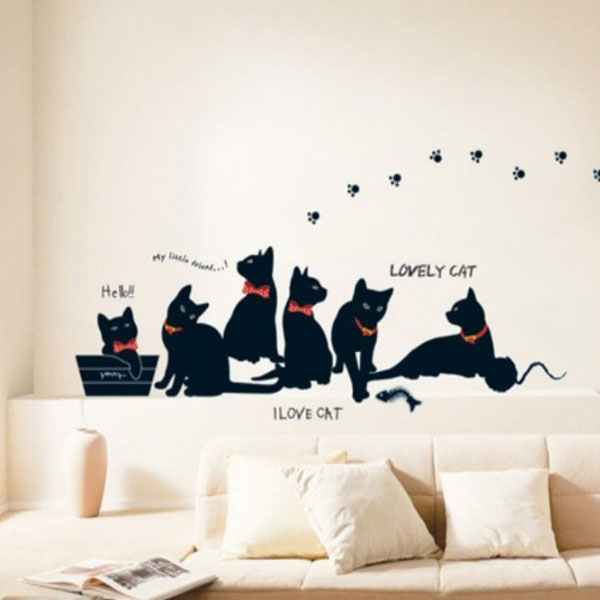 Brand New Cute Design Lovely Black For Cats Family Removable Wall Sticker Paper Mural Art Decal Fit For Home Decoration