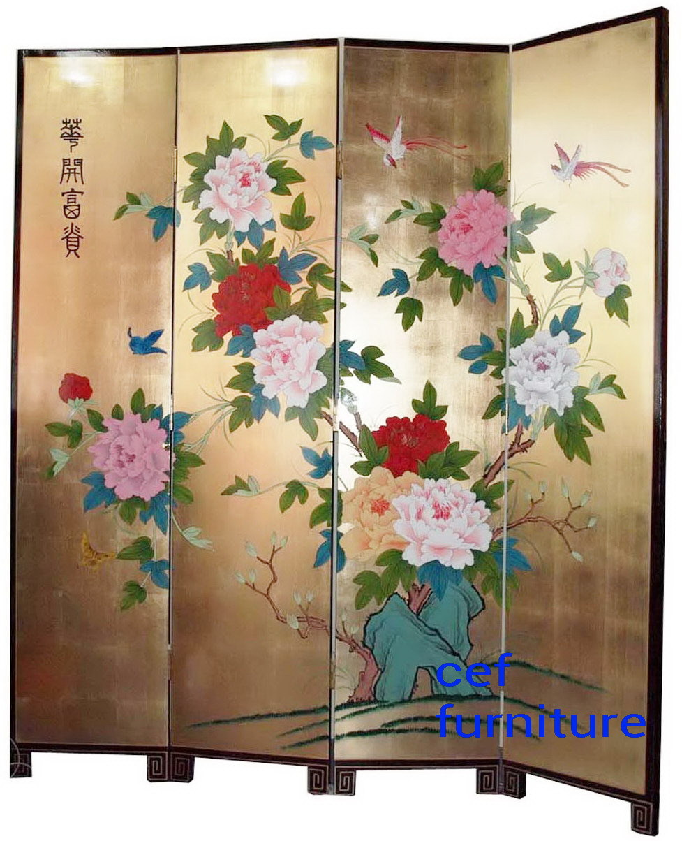 Louts fish fengshui hand painted screen room divider for Painted screens room dividers
