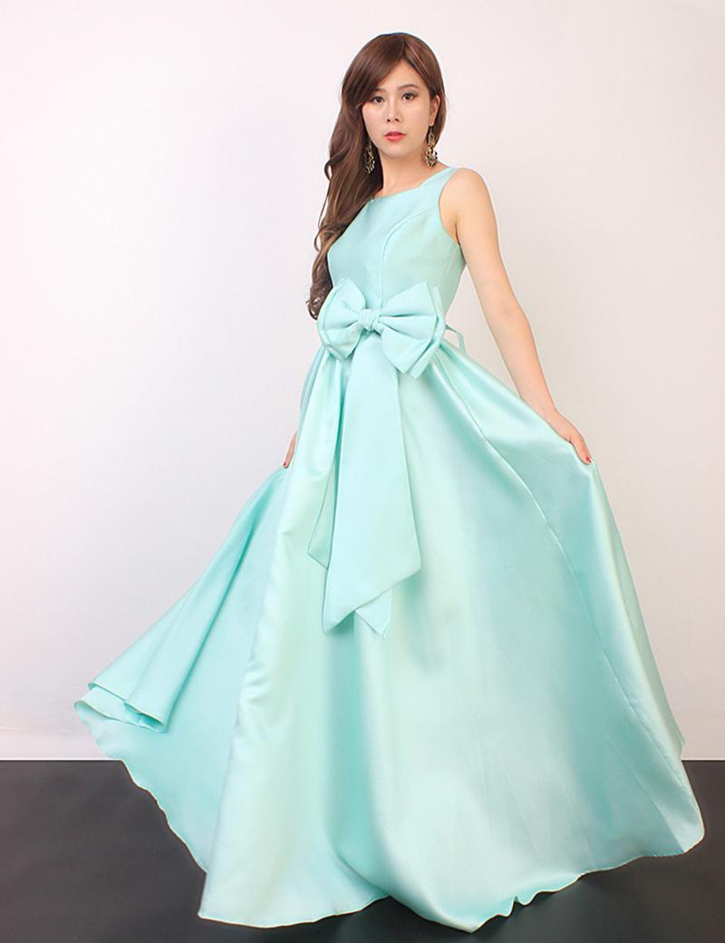 Elegant Dress 2015 Summer Fashion Women's Sleeveless Lovely Bow Sashes Floor-Length Blue/Light Green/Pink Backless Evening Dress(China (Mainland))