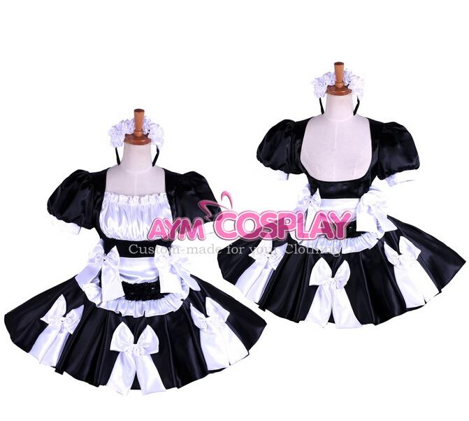 Custom Made Womens Anime Lockable Satin Cosplay Maid Costume Lolita Waitress Uniform Princess Dresses - Touch sa's store