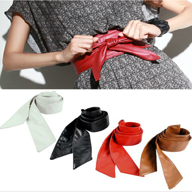 long section of the circle soft leather bow body shaping bands wide belt cummerbund QW099-1 free shipping(China (Mainland))