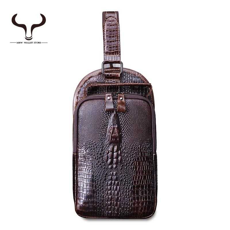 Fashion New European and American Style Pattern Alligator Men Small Chest pack Genuine Leather Crossbody Messenger Bags LS/015(China (Mainland))