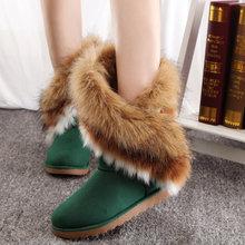 Nuevas botas de Invierno Impermeable Zapatos de Las Mujeres de LA PU Botas de Nieve Ocasionales Tobillo de Los Zapatos de Punta Redonda térmica Imitación de Piel Más Tamaño Envío gratis(China (Mainland))