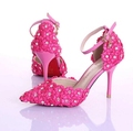 Summer new elegant with strap white lace wedding shoe up heel bride shoes pointed photography female
