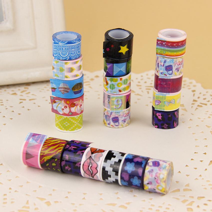 10 Pcs/Set Mini Cartoon Tapes Decoration Roll Candy Colors DIY Decorative Sticky Masking Tape Self Adhesive Scrapbook Tape(China (Mainland))