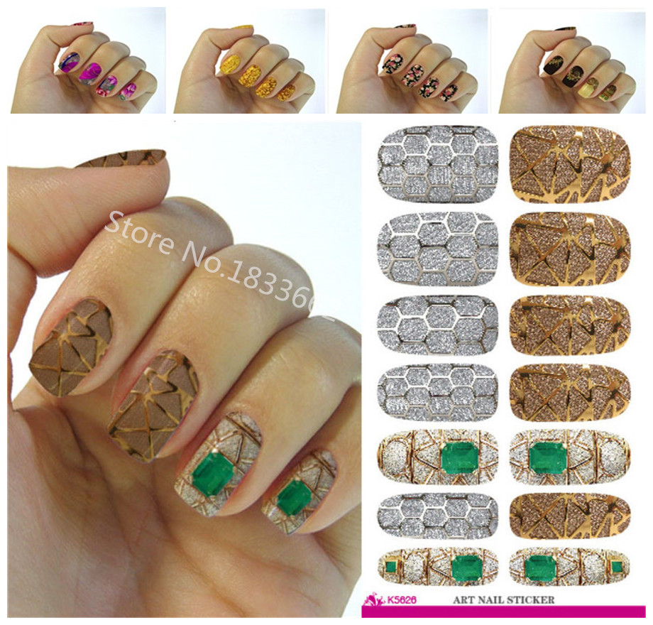 K626 New fashion water transfer foil nail stickers all kinds of nail art design patterns fashion decorative decal(China (Mainland))