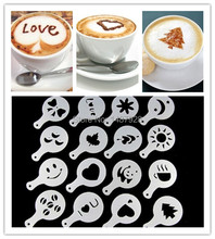 Free shipping 16Pcs set Fashion Cappuccino Coffee Barista Stencils Template Strew Pad Duster Spray Tools AF019