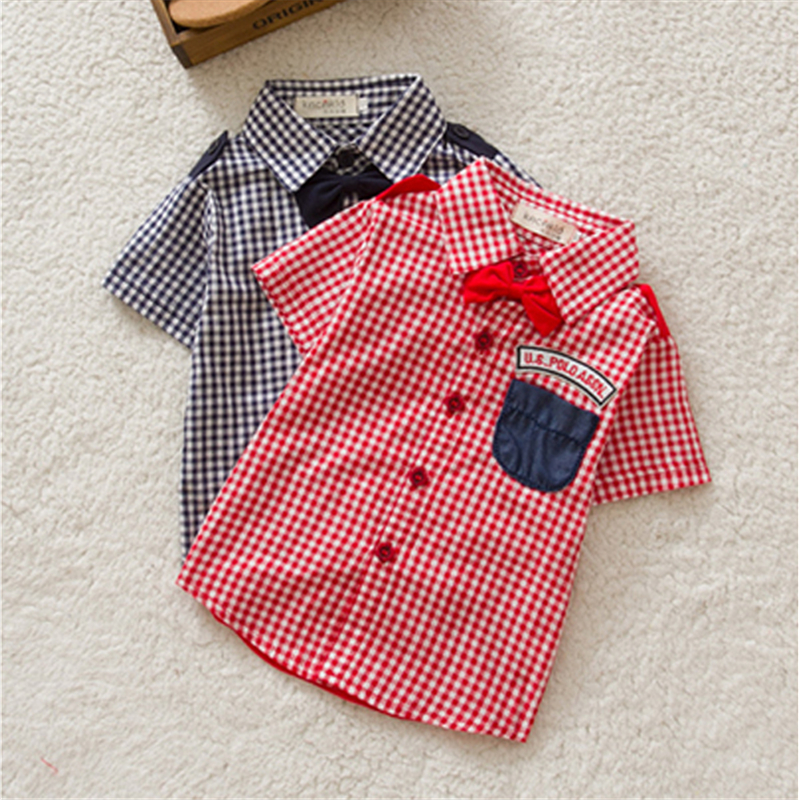 Newest Boys Button-down Plaid Short Sleeve Shirts Tie Lapel Blouse Tops Age 0-3Y Free&amp;DropShipping<br><br>Aliexpress