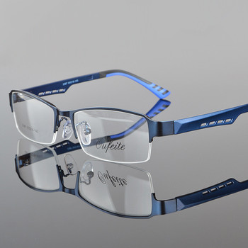 Quality Stylish Men Eyeware Fashion Half Rimmed Stainless Frame TR 90 Arms Optical Glasses Frame Males Myopia Spectacle Frames