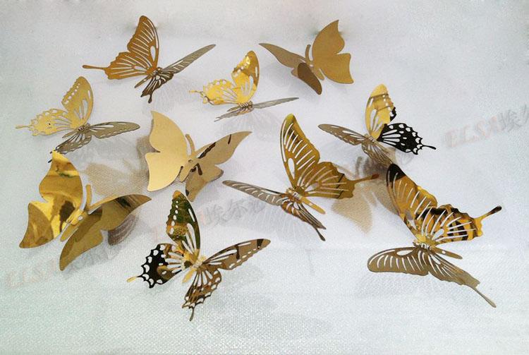 Gold schmetterling aufkleber kaufen billiggold schmetterling aufkleber partien aus china gold - Driedimensionale spiegel ...
