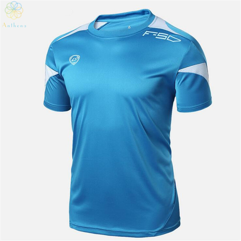 Anthena 2016 New Arrival Men Soccer Jerseys Running T-Shirt Summer Tops Slim Fit Sport Shirt Fitness Gym Quick Dry Wholesale(China (Mainland))