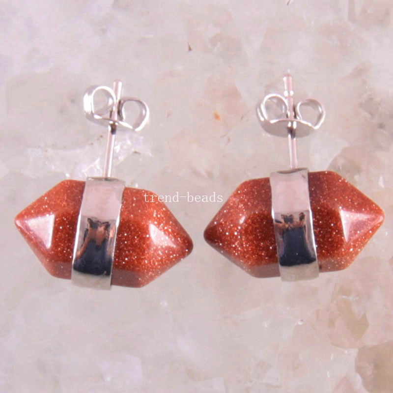 Free Shipping Natural Stone Beads Gold Sandstone Earrings 1Pair U305(China (Mainland))