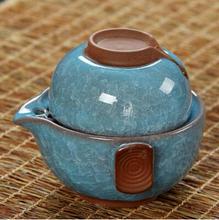 Colorful ice crack a pot a cup Kung Fu Tea Set portable travel Tea Set Ceramic