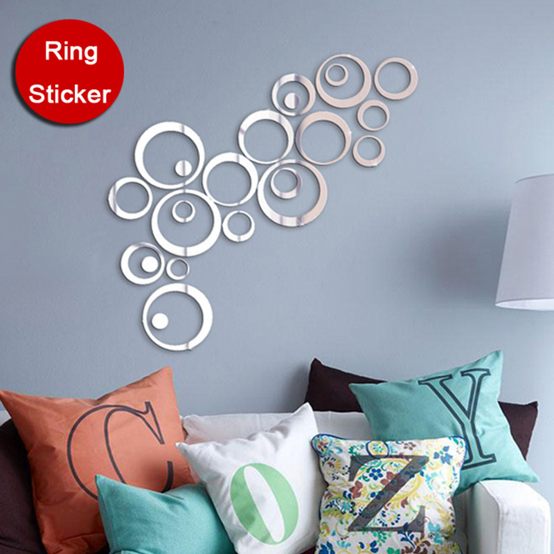 3D Diy Circles Mirror Style Ring Modern Acrylic Wall Stickers Promotion Home Decor Decoration Gold Silver(China (Mainland))