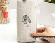 Retro Canvas Paris Pencil Pen Case Cosmetic Makeup Coin Pouch Zipper Bag Purse