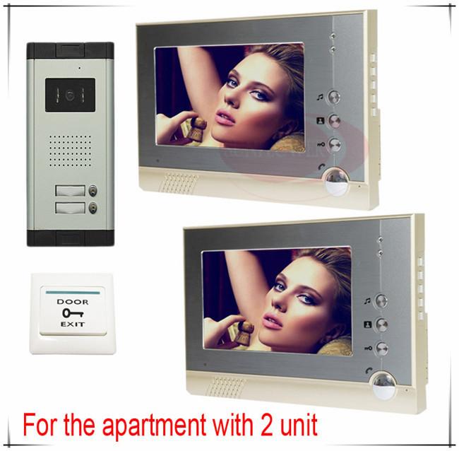 2 Apartments Video door phones intercom systems door bells 2 buttons outdoor unit Clearer Video! HD Camera + 2 monitors!(China (Mainland))