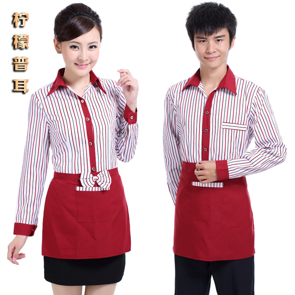 10pcs- wholesale Work wear long-sleeve autumn and winter the front desk female uniform hotel restaurant work clothes free ship(China (Mainland))