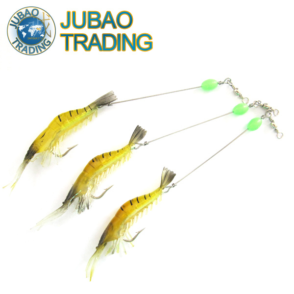 Free Shipping 5pcs 9cm/5g Noctilucent Silicone Shrimp Fishing Soft Lure, Soft Prawn Bait With Fluorescence Hooks/Bead and Swivel(China (Mainland))