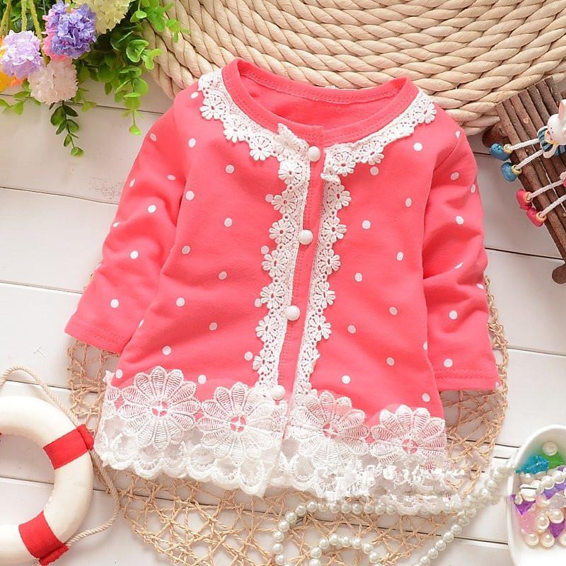 Free Shipping Summer 2014 Korean girls covered dot lace long-sleeved Cardigan Coat childrens clothing kids baby jacket<br><br>Aliexpress