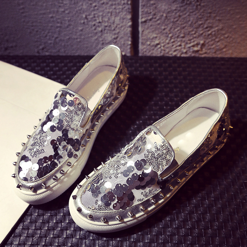 Europe 2016 summer bright katayanagi nail shoes flat shoes rivets loafer Silver Orange loafer free shipping<br><br>Aliexpress