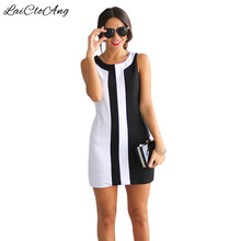 Plus Size Sleeveless A-Line Dress Women 2016 New O-Neck Patchwork Short Mini Dress Vestidos Beach Casual Large Size Dress Woman