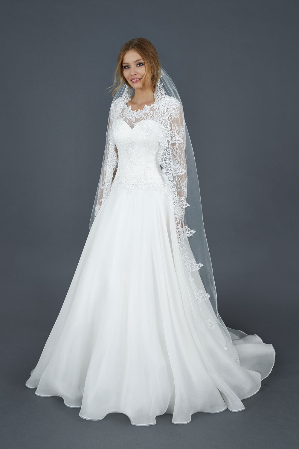New Arrival Custom Made 2016 Lace Applique Organza Tulle Long Sleeves Ball Gown Formal Church Wedding Dresses Bridal Gown(China (Mainland))