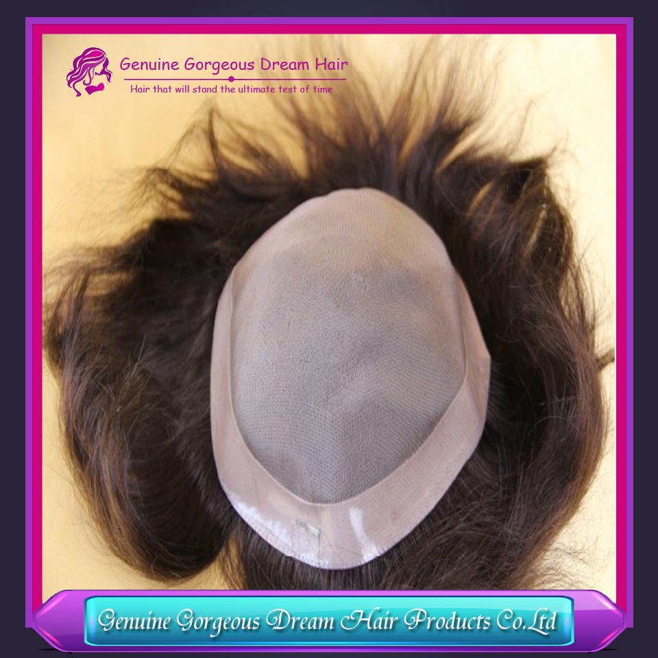 "Genuine Gorgeous Dream Hair Newest India Remy Hair mens toupee 8""x 10""hair toppers men's hair systems pieces Mono base"