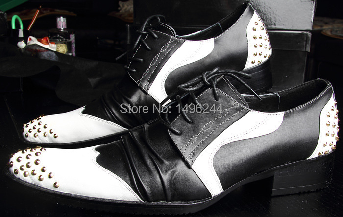 Фотография British men fashion business shoes rivet Osiris pointed-toe real leather high heel  fashion pre-order color black/white shoe