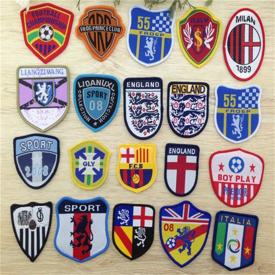 Fashion football team iron on patches for clothes Sew-on embroidered patch motif applique deal with it clothing free shipping(China (Mainland))